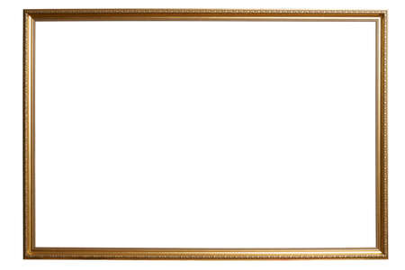 Ornamented golden picture frame. isolated on white background Imagens