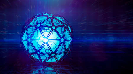 Abstract Blue Icosphere Background Futuristic technology style. Neon box 3D illustration