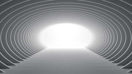 Futuristic elliptical white tunnel with light at the end 3D Illustration
