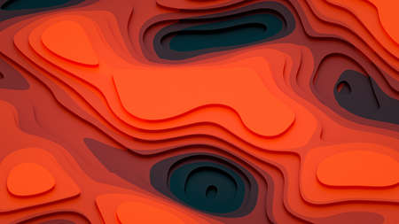 Stepped structure of red shades - abstract stepped landscape 3D Illustration Imagens