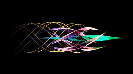 Twisting Crystal moving around core crystals isolated on black background. 3D illustration Imagens