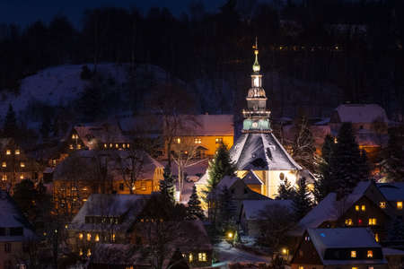 Illuminated Church in Seiffen at Christmastime. Saxony Germany