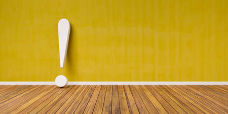 White exclamation mark on wooden floor and yellow concrete wall 3D Illustration Warning Concept