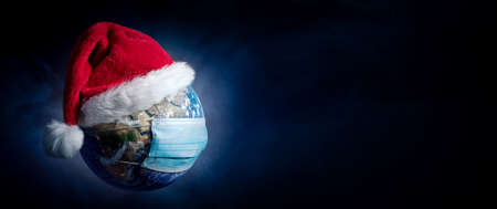 Earth With Surgical Mask and Santa Hat Banner - Virus Infection Covid 19 - World with Coronavirus - Christmas Concept 3D Illustration