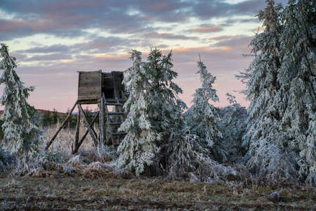 Winter landscape with a deerstand Stock Photo