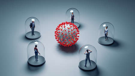 Coronavirus Covid19 protection - Isolated people under glass cover - Social distancing concept. 3D Illustration - People are 3D Models with CC0-License