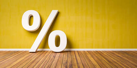 White Percent Sign on Brown Wooden Floor Against yellow Wall - Sale Concept - 3D Illustration Stock Photo