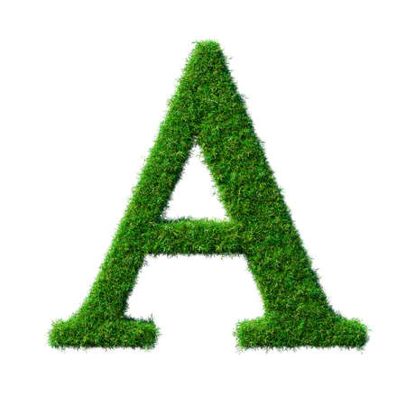 Letter A made of green grass isolated on white background 3D illustration - Part of a series