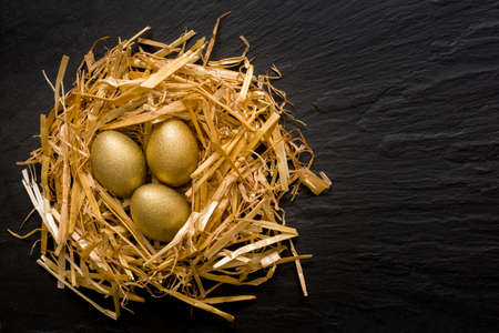 Three golden eggs in the grassy nest on black slate background with copyspace