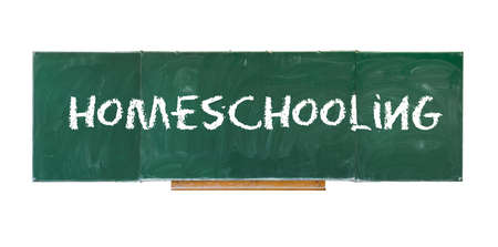 Homeschooling. Word Homeschooling writing on old green blackboard isolated on white background