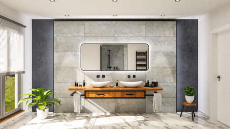 Modern bathroom with vanity basin on a wodden oak top vanity with black water faucet 3D-Illustration Imagens