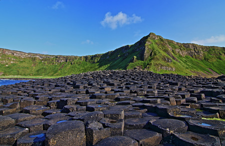 concave: Giants Causeway on Sunny Irish Day in Northern Ireland
