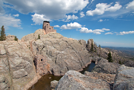 harney peak fire lookout tower in custer state park in the black hills of south dakota