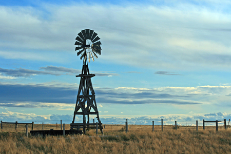 Windmill on Ranch in Lusk Wyoming Stock Photo