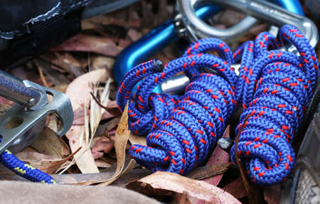 abseil: Climbing gear lying on a carpet of eucalyptus leaves