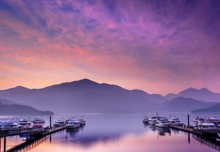 sun and moon: Sun Moon Lake Nantou Taiwan Stock Photo