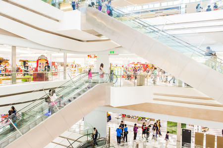 come in: KAOHSIUNG TAIWAN 04 MAY 2015: Taiwan has many large department stores a lot of people will come to this holiday shopping to buy things to spend a day off 04 May 2015 in Kaohsiung Taiwan