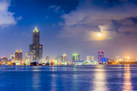 sea port: Night view of the city in Taiwan - Kaohsiung Stock Photo