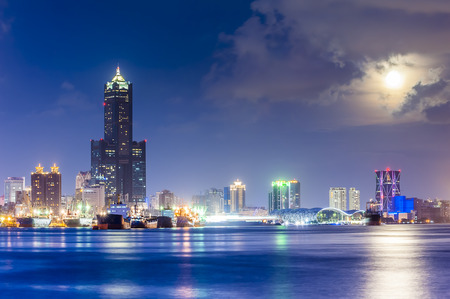harbors: Night view of the city in Taiwan - Kaohsiung Stock Photo