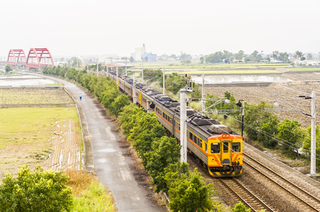 Train on the railway in Taiwan Editorial