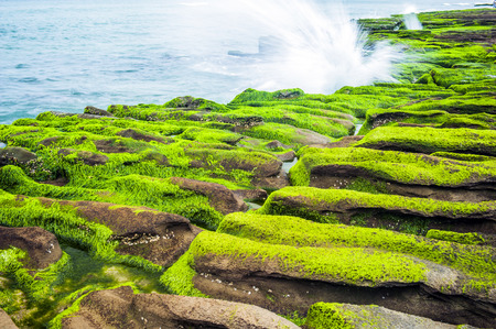 Coastal stone trench of Laomei coast in Taipei, Taiwan Stock Photo