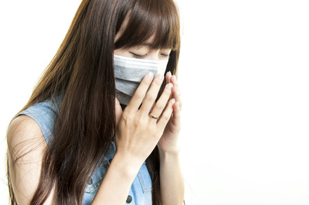A Woman catches a cold, illness, asian Zdjęcie Seryjne