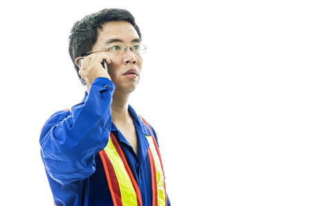 Portrait of a smiling worker. Isolated on white Stock Photo