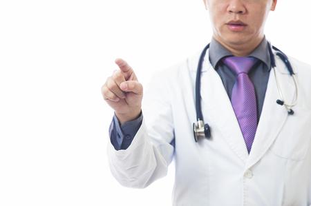 Doctor with stethoscope around neck on white background Stock Photo