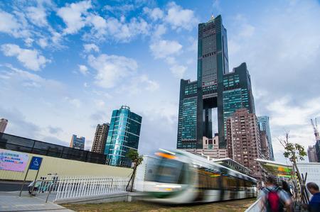 Kaohsiung, Taiwan - JANUARY 25 : View of light rail tram and the skyline in Kaohsiung, Taiwan on JANUARY 25, 2017. The light rail system in Kaohsiung is the first light rail transit in Taiwan. Editorial