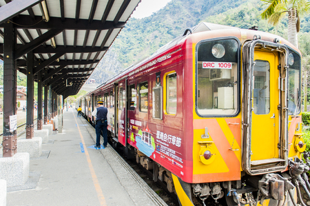 Nantou, Taiwan - February 5,2017: Checheng is the terminal station of Nantou Tourist Railroad Jiji line. Brickwork and factories of lumber are remained here. It is worthy of sightseeing.