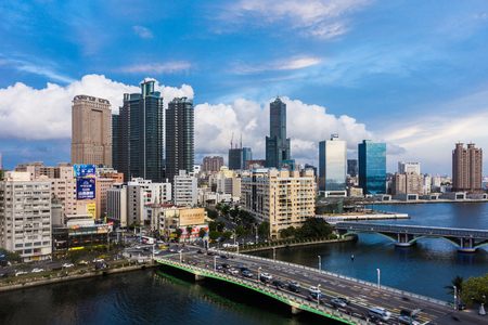 recent: KAOHSIUNG, TAIWAN, MAY 01 2016: Southern located in Taiwan, is a port city, has developed rapidly in recent years, many foreign visitors have come to play in Kaohsiung.
