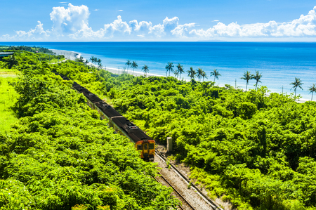 Train rail near the sea in Taitung Stock Photo