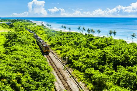 irish countryside: Train rail near the sea in Taitung Stock Photo