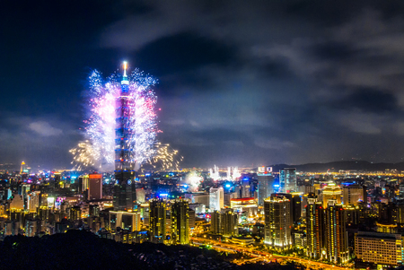 Taipei101 firework & Taipei night scene Stock Photo