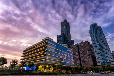 Kaohsiung City, Taiwan - March 18th, 2018: The Kaohsiung Public Main Library is located within the Asia New Bay Area, opened for all of its citizens.