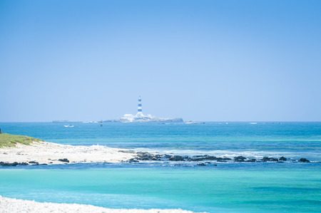 Beautiful blue ocean with beach and blue sky , white cloud in Taiwan