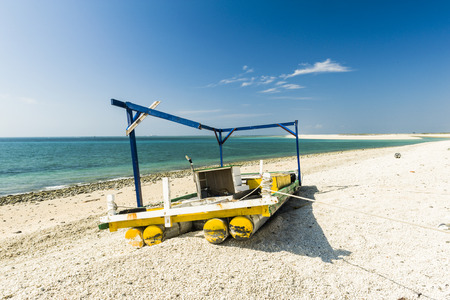 Beautiful blue ocean with beach and blue sky , white cloud in Penghu,Taiwan Stock Photo