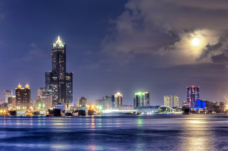 Night view of the city in Taiwan - Kaohsiung Stok Fotoğraf