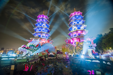Kaohsiung, Taiwan - 08 October 2018: Zuoying Wannian Folklore Festival. Tiger and Dragon Pagoda Lightshow. Lotus Pond