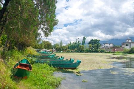 waterscape: Lakeside village in the Dali Yunnan China