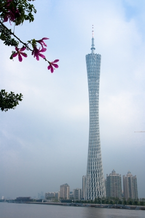 The Guangzhou Tower  600 m ,It is a TV tower,The China s first tower  located at new city axis intersection ,Guangzhou Stock Photo - 13627565