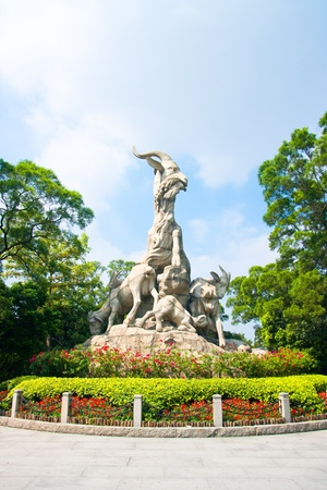Five Goat Statue is the symbol of Guangzhou, much like the Statue of Liberty in New York City  Guangzhou, Guangdong Province, China Stock Photo - 12937358