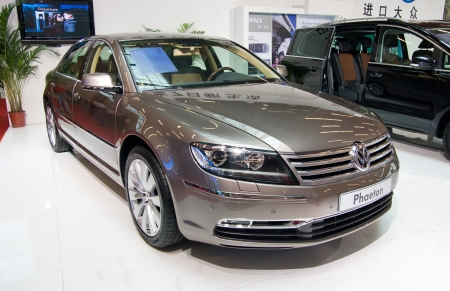 Volkswagen Phaeton car on display at the 2012 Guangzhou daily BaiYun INT L Auto-expo