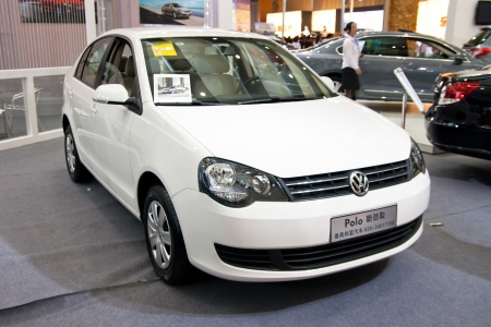 Volkswagen Polo car on display at the 2012 Guangzhou daily BaiYun INT L Auto-expo