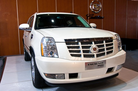 int: Cadillac Escelade car on display at the 2012 Guangzhou daily BaiYun INT L Auto-expo