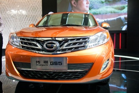 Trumpchi GS5 car on display at the 2012 Guangzhou daily BaiYun INT L Auto-expo Stock Photo - 13627689