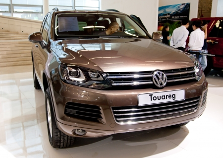 Volkswagen Touareg car on display at the 2012 Guangzhou daily BaiYun INT L Auto-expo