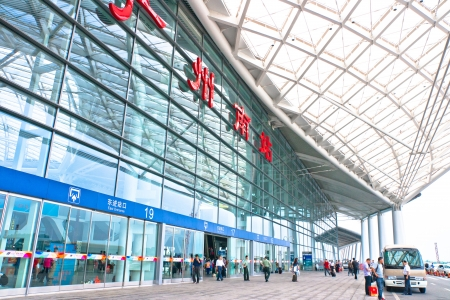 serves: Guangzhou South Railway Station for high-speed trains, Is a large modern railway station,serves 200000 passengers per day,GUANGZHOU CHINA Editorial