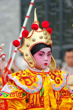 chinese opera: Unidentified child actors on a traditional parade , It is a non material cultural heritage,celebrating Chinese New Year