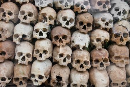 catacomb: wat thmei Human skull,Siem reap,Cambodia